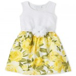 Girls Mommy And Me Lace Floral Matching Knit To Woven Dress