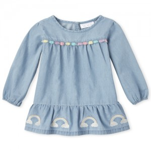 Baby And Toddler Girls Embroidered Rainbow Chambray Dress