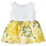Baby And Toddler Girls Lace Floral Knit To Woven Dress