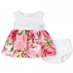 Baby Girls Mommy And Me Lace Floral Matching Knit To Woven Dress