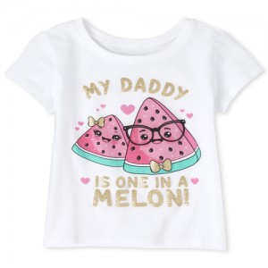 Baby And Toddler Girls Glitter Daddy Melon Graphic Tee
