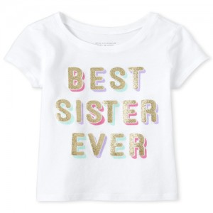 Baby And Toddler Girls Glitter Best Sister Graphic Tee