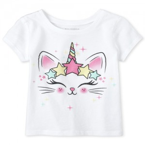 Baby And Toddler Girls Glitter Caticorn Graphic Tee