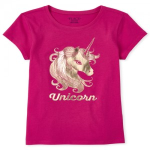 Girls Mommy And Me Foil Unicorn Matching Graphic Tee