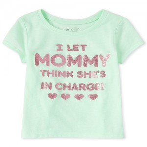 Baby And Toddler Girls Glitter Mommy Graphic Tee