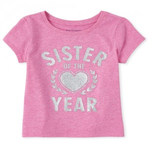 Baby And Toddler Girls Glitter Sister Of The Year Graphic Tee