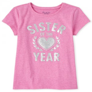 Girls Glitter Sister Of The Year Matching Graphic Tee
