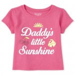 Baby And Toddler Girls Glitter Daddy's Sunshine Graphic Tee
