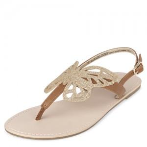 Girls Glitter Butterfly T-Strap Sandals