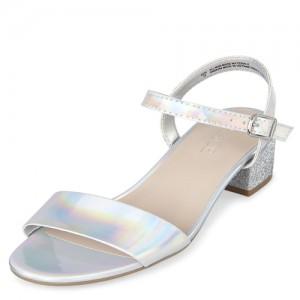 Girls Holographic Low Heel Sandals