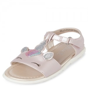 Toddler Girls Glitter Unicorn T-Strap Sandals