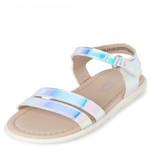 Toddler Girls Iridescent Cross Strap Sandals