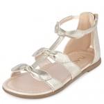 Toddler Girls Metallic Bow Gladiator Sandals