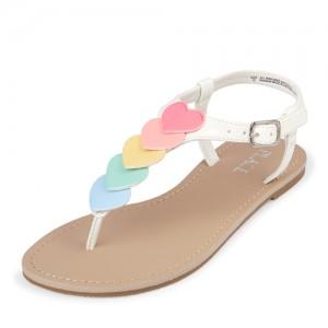 Girls Rainbow Heart T-Strap Sandals