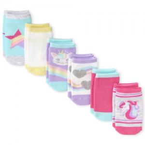 Toddler Girls Unicorn Ankle Socks 6-Pack
