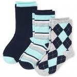 Boys Argyle Matching Crew Socks 3-Pack