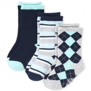 Toddler Boys Argyle Matching Crew Socks 3-Pack