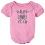 Baby Girls Glitter Baby Of The Year Graphic Bodysuit
