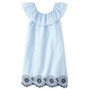 Girls Embroidered Striped Shift Dress