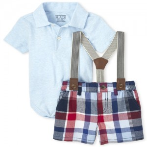 Baby Boys Polo Bodysuit And Plaid Shorts Outfit Set
