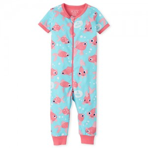 Baby And Toddler Girls Goldfish Snug Fit Cotton One Piece Pajamas