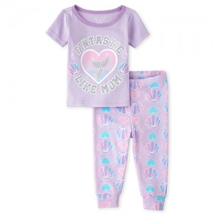 Baby And Toddler Girls Glitter Mom Mermaid Snug Fit Cotton Pajamas