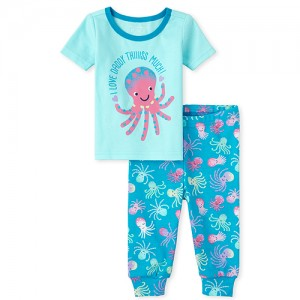 Baby And Toddler Girls Daddy Octopus Snug Fit Cotton Pajamas
