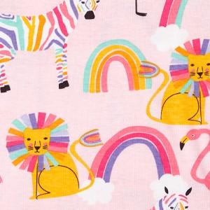 Baby And Toddler Girls Rainbow Lion Snug Fit Cotton Pajamas