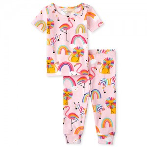 Baby And Toddler Girls Rainbow Lion Snug Fit Cotton Pajamas