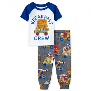 Baby And Toddler Boys Breakfast Crew Snug Fit Cotton Pajamas