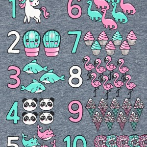 Baby And Toddler Girls Glitter Unicorn Numbers Graphic Tee