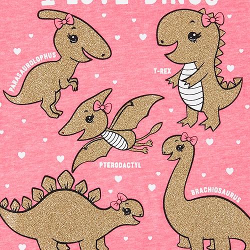 Baby And Toddler Girls Glitter Dino Graphic Tee