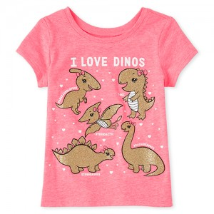 Baby And Toddler Girls Glitter Dino Graphic Tee