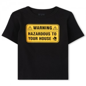 Baby And Toddler Boys Warning Graphic Tee
