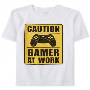 Boys Caution Video Game Graphic Tee