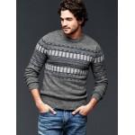 Geo pattern crew sweater