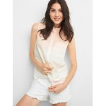 Ombre tie-front sleeveless shirt
