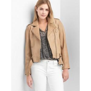 Leather Belted Moto Jacket