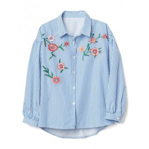 Stripe Embroidery Shirt
