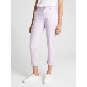 Girlfriend Embroidered Stripe Chinos in Linen-Cotton