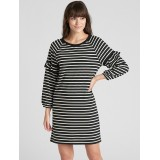 Ruffle Balloon Sleeve Stripe Dress