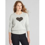 Heart Intarsia Crewneck Pullover Sweater