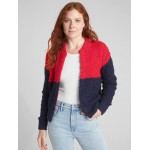 Textured Colorblock Bomber Cardigan Sweater