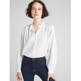 Pintuck Ruffle-Trim Blouson Sleeve Shirt