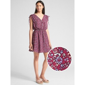 Print Tie-Shoulder Mini Shirtdress