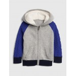 Sherpa Cable-Knit Hoodie Sweater