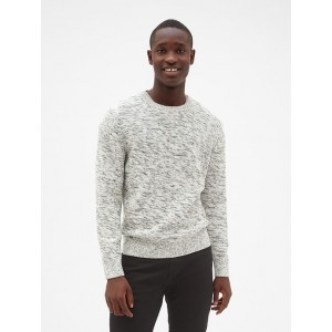 Textured Marled Crewneck Pullover Sweater