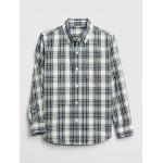 Plaid Long Sleeve Shirt in Poplin