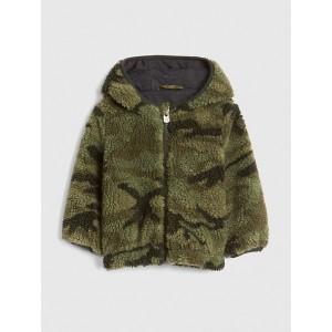 Print Sherpa Hoodie Jacket