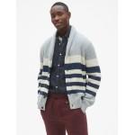 Ribbed Stripe Shawl Cardigan Sweater